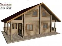 Рубленый дом 10 на 13 метров в норвежском стиле.